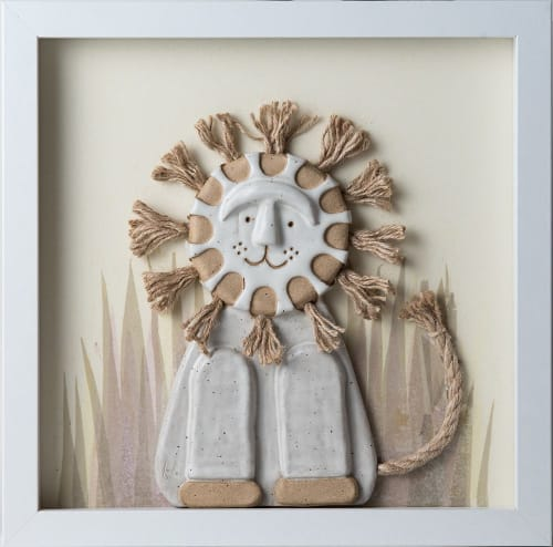 Sculptures by Lucky Bunny Arts seen at Private Residence, Rochester Hills - Mod Lion Wall Relief
