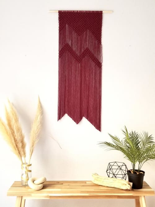 Macrame Wall Hanging by YASHI DESIGNS seen at Private Residence, Milpitas - Modern minimalistic macrame wall hanging- The Wine Mountains