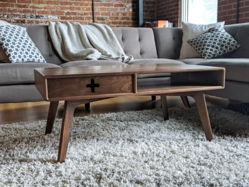 Tables by Max Moody Design - Coffee Table Plus in Solid Walnut / Mid Century Modern