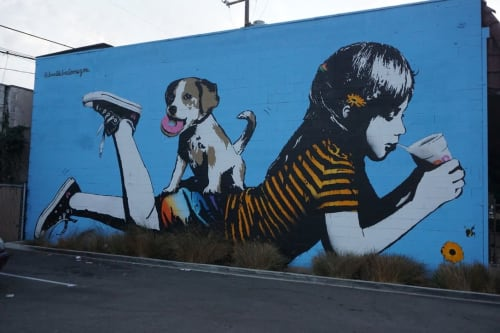 Murals by Bumblebeelovesyou seen at Victoria Motors, Los Angeles - Sippin in the Sunshine