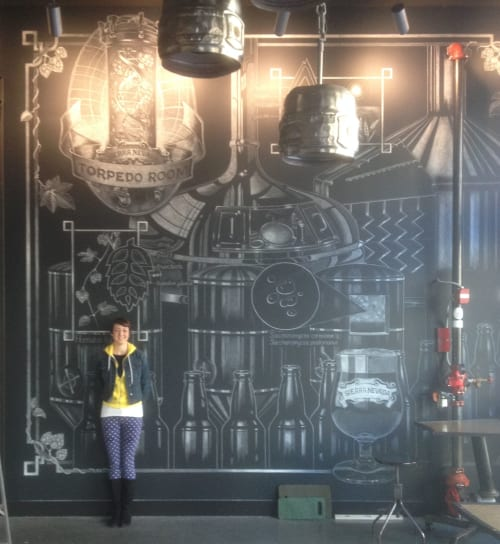 Murals by Jolene Rose Russell seen at Sierra Nevada Torpedo Room, Berkeley - Chalk Mural