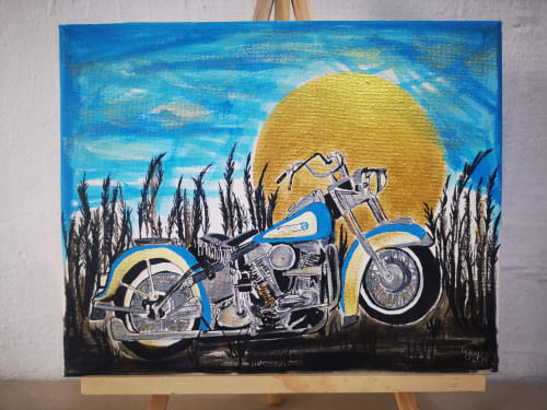 Paintings by Chalkboardartiste seen at Private Residence - Vintage Harley — Acrylic Painting, 20cm by 25cm