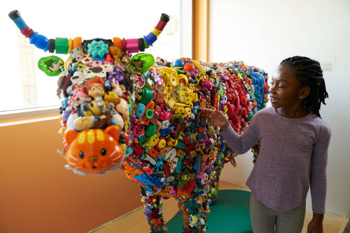Public Sculptures by Donald Gialanella seen at Stanford Children's Health | Lucile Packard Children's Hospital Stanford, Palo Alto - Toy Cow