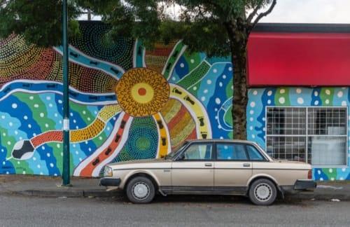 Murals by Kamilaroi Prince seen at 110 W 4th Ave, Vancouver - Gariya - Rainbow Serpent