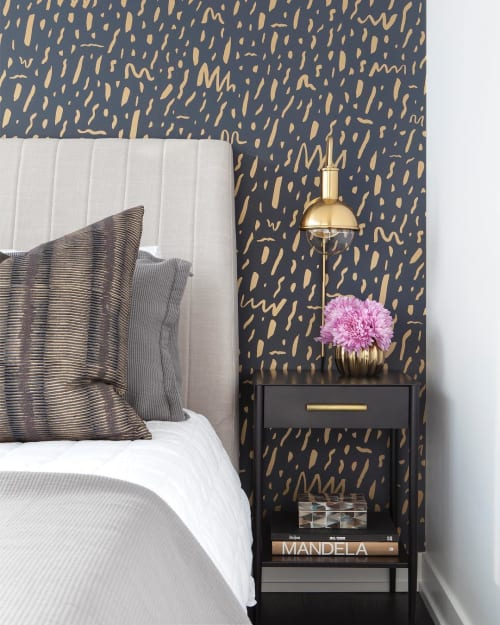 Wallpaper by Juju Papers seen at Private Residence, Toronto - Bomba - Gold on Charcoal