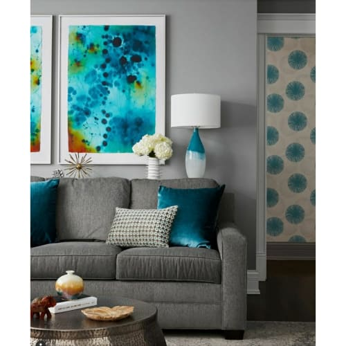 Paintings by Mel Rea seen at Private Residence, Chicago - Blue Flower I and II