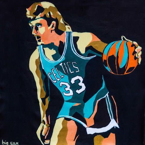 Paintings by Big Sam's Paints seen at T Anthony's Pizzeria, Boston - Larry Bird and Tom Brady