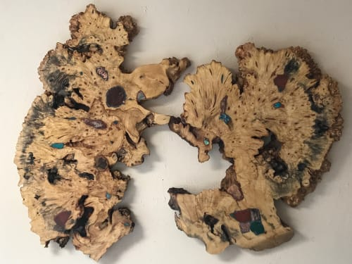 Art & Wall Decor by Natural Wood Edge Creations by Rick Griggs seen at Private Residence, Reno - Live Edge Buckeye Burl Wall Art with Stone Inlay