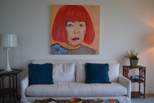 Paintings by Carrie Kilgore Art seen at Private Residence, Saint Petersburg - Portrait painting of Yayoi Kusama by Carrie Kilgore