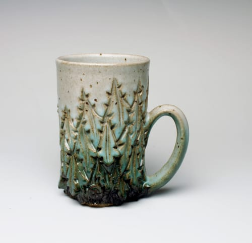 Cups by Dow Redcorn Ceramics seen at Private Residence, Toledo - White and Green and Tall Carved Mug