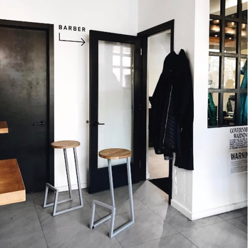 Chairs by hollis + morris seen at Three Seat Espresso & Barber, New York - Corktown Stool