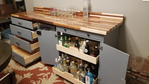 Furniture by Mw Hunter custom Woodworking seen at Private Residence, Bedford - Interior Mini Bar