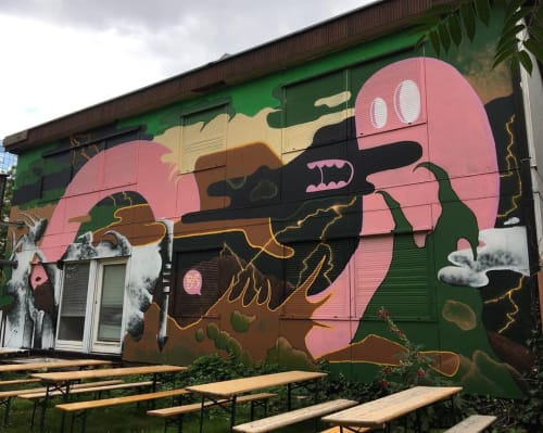 """Murals by BS Just More (Bulky Savage) seen at Latitude Record Store, Berlin - """"Camouflage/Latitude"""" Mural"""