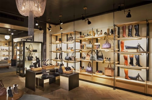 Interior Design by Amuneal seen at Cole Haan, New York - Perimeter Shelving System