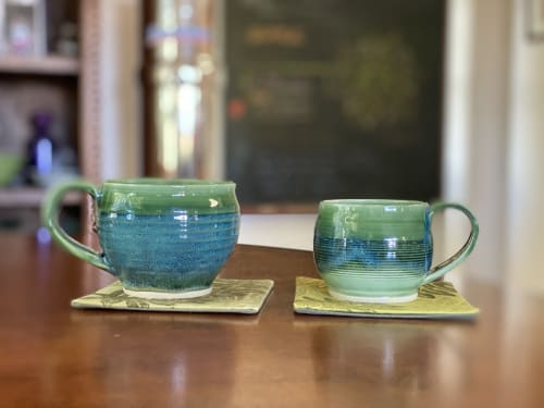 Cups by Luminous Ceramics seen at Private Residence, Makawao - green and blue mugs