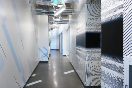 Murals by Katy Ann Gilmore seen at Google HQ, Mountain View, CA, Mountain View - Illusion of Movement, 2019