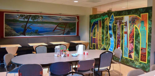 "Murals by Dan Terry seen at Centaur Technology Inc, Austin - ""Welcome from Austin postcard"" and ""Pennybacker Bridge Panorama"" murals."