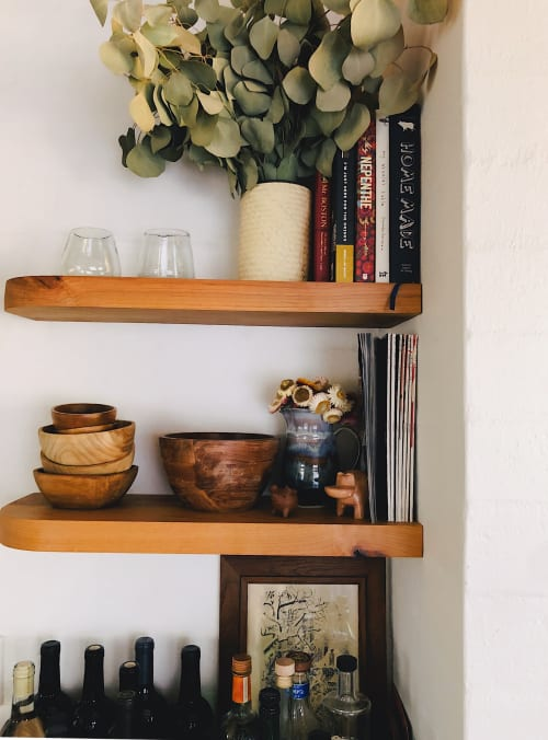 Furniture by Aaron Michael Wood seen at Morongo Valley House, Morongo Valley - Custom Floating Kitchen Shelves