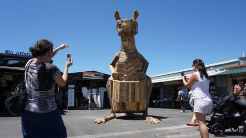 Public Sculptures by Thomas Dambo seen at Carrara Markets, Carrara - Kangaroo Kat