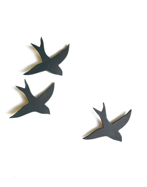 Art & Wall Decor by Elizabeth Prince Ceramics seen at Creator's Studio, Manchester - Set of 3 Charcoal Gray Porcelain Swallows