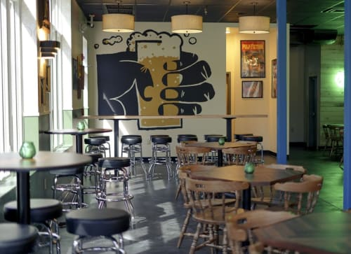 Murals by Tim Gough seen at 1646 S 12th St, Philadelphia - Separatist Beer Project