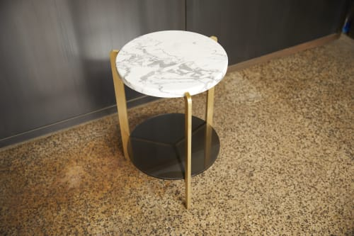 """Tables by Joe Cauvel of Cauv Design seen at Private Residence, Brooklyn - """"Ternary"""" Side Table Brass"""