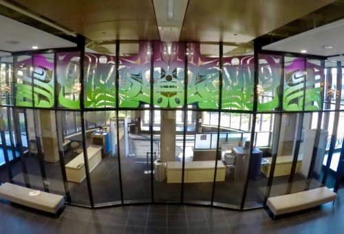 Public Sculptures by Preston Singletary Glass seen at Boney Courthouse, Anchorage - Northern Lights – Split Eagle & Raven Sunrise