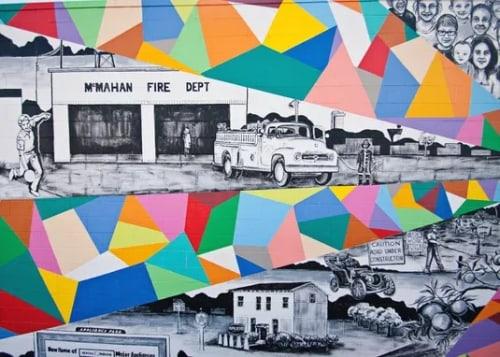 Street Murals by Liz Richter seen at Starbucks, Louisville - History of Hikes Point Mural