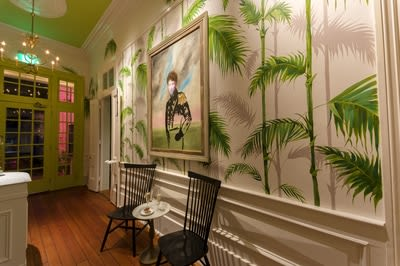Murals by Cindy Mathis Murals and Fine Art seen at The Country Club, New Orleans - Lush Bamboo Palm Mural