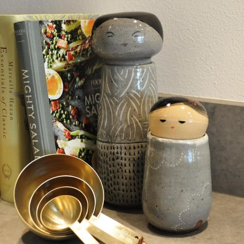 Sculptures by Jennifer Fujimoto seen at Private Residence, Seattle - Kokeshi-Inspired Ceramic Dolls