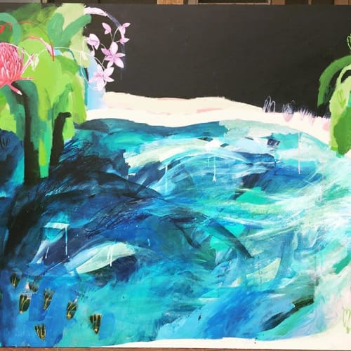 Paintings by Nikky Morgan-smith seen at Lone Goat Gallery, Byron Bay - The blue lagoon