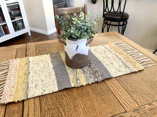 Tableware by IvyWoven| Handwoven Decor & Accessories by Lindsey Willman seen at Private Residence, San Diego - Sandy Beaches; Saori Table Runner