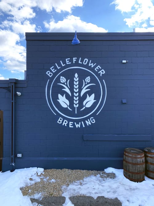 Murals by Jared Goulette | The Color Wizard seen at Belleflower Brewing Company, Portland - Belleflower Logo mural