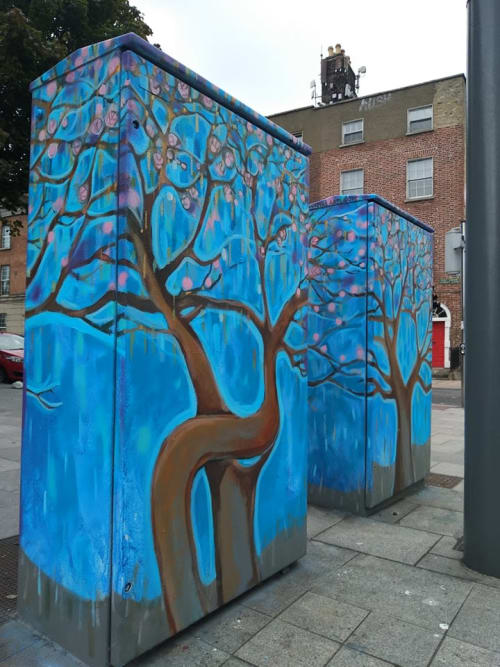 Street Murals by Pawel Jasinski seen at Dorset Street Lower, Dublin - Dancing Trees
