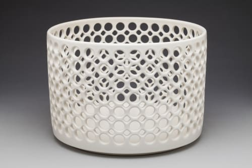 Sculptures by Lynne Meade seen at Private Residence, Palo Alto - Lacy Cylindrical Bowl, Carved and Pierced Spiral Vase
