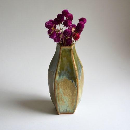Vases & Vessels by Laura Keyes seen at Asheville, Asheville - Five Sided Flower Vase-Lichen