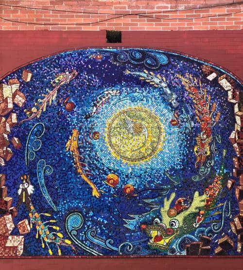 Street Murals by Margarita Soyfertis seen at Wentworth Place, San Francisco - Dragon Boats Chasing Moonlight