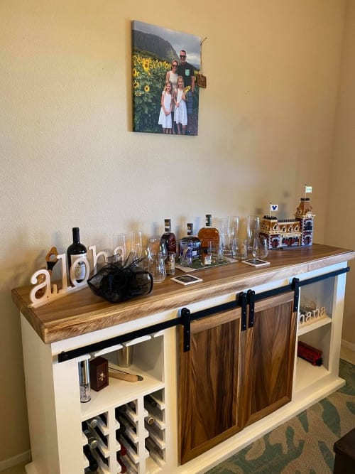 Furniture by Rivy's Woodworks seen at Private Homes Hawaii, Kailua - Buffet bar cabinet