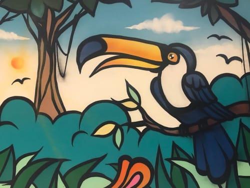 Murals by Fábio Panone seen at Antonella Condomínio Club, Nossa Senhora da Saúde - Indoor Mural
