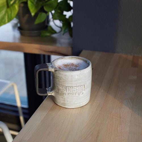 Cups by THrō Ceramics seen at Edison Coffee Co., Flower Mound - Edison Coffee Mug