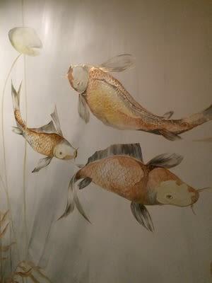 Murals by Kari Serrao seen at Private Residence, Toronto - Powder Room Pond