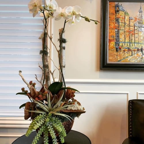 Floral Arrangements by Fleurina Designs seen at Private Residence, Los Gatos - White Birch Phalaenopsis Arrangement