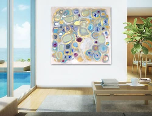 Paintings by Linnea Heide contemporary fine art seen at Private Residence, San Diego - 'MEMORiES' original abstract painting by Linnea Heide