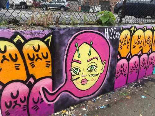 Street Murals by Hiss seen at Welling Court Mural Project, Queens - Hiss Mural