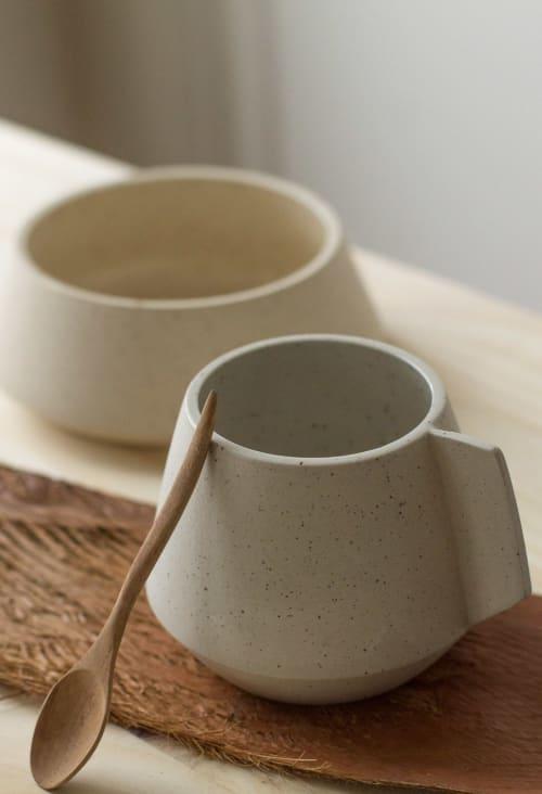 Cups by Cóte García Ceramics at Private Residence, Brooklyn - Stone Blue Altiplana Mug / Handle