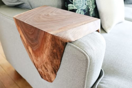 Tables by Hazel Oak Farms seen at Private Residence, Homestead - Armrest Walnut Waterfall Sofa Table