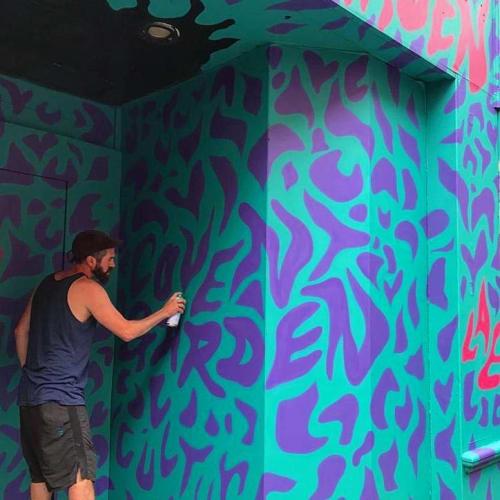 """Murals by Luke Embden seen at Covent Garden, London - """"Endless Summer"""""""