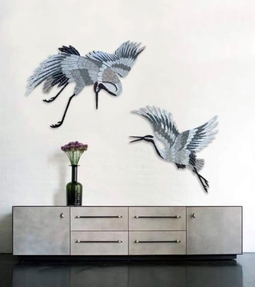 Art & Wall Decor by Julia Gorbunova seen at Private Residence, Belorus' - Two cranes mosaic wall decoration
