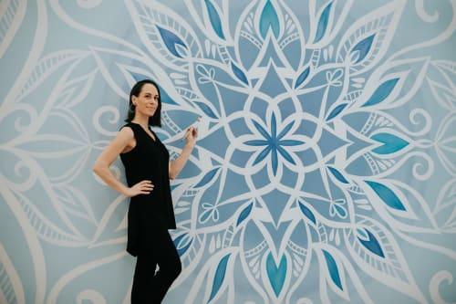 Murals by Urbanheart seen at Pure Yoga Republic Plaza, Singapore - Blue and White Yoga Studio Mandala Mural