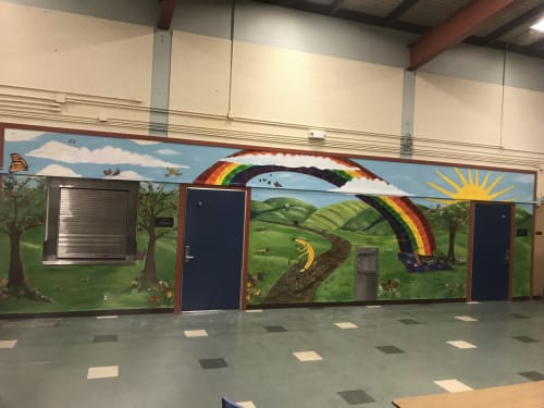 Murals by Oaklandartworks seen at School Cafeteria, Oakland - Art Mural